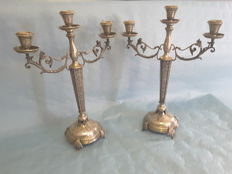 Pair of candle holders made of 800 silver - Italy - filigree -  late 1800/early 1900