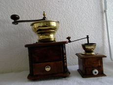 Two wooden 19th century coffee grinders