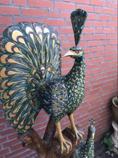 Large (150 cm) hardwood picture of three peacocks, second half of the 20th century