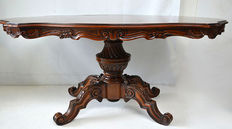 Walnut and mahogany dining room table, Italy, 20th century