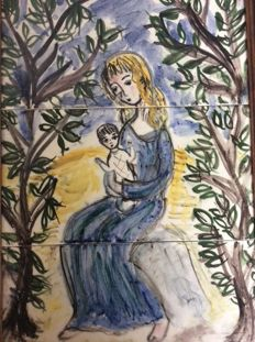 Antique tile plateau Mary with child, early 20th century