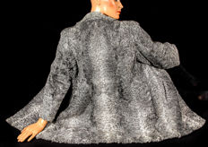 Elegant grey Persian lamb fur fur jacket curly lamb