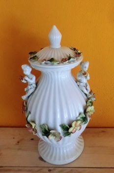 Signed Italian Bassano Vase:  2 Handles and cover with Angels and Flowers Guirlande