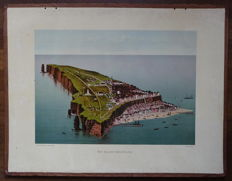 """Old and antique school poster of the German island """"Helgoland"""""""