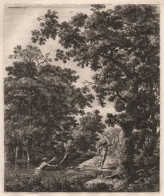 Anthonie Waterloo (1610-1690) - Large upright landscape: Alpheus and Arethusa -  Around 1670