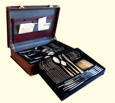 Nivella Solingen - Cutlery set for 12 people in stainless steel 18/10 with 23/24 cts gilded motifs - 70 pieces
