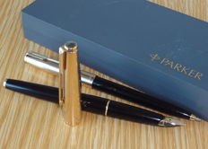 Parker 65 Custom Insignia GT Black fountain & ballpoint pen set - very nice !