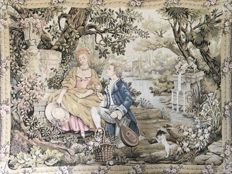 "Large Gobelin Wall tapestry ""Jardin d'amour"" - Marc Waymel - France for Franklin Mint."