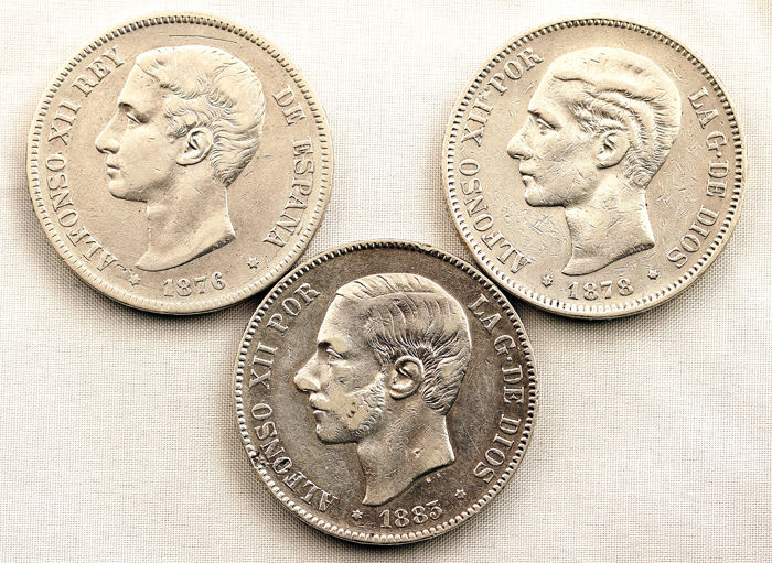 Spain – Alfonso XIII – LOT 5 pesetas silver coins – 1876, 1878 and 1883 – Madrid