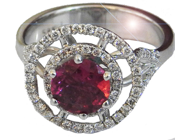 Halo Tourmaline and Diamond Ring Size 6.25 US size - Total Diamonds 1.71 carat
