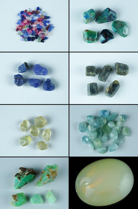 Lot with Ruby, Sapphire, Tanzanite, Topaz, Aquamarine, Shattuckite, Welo Opal , Chrysophrase - 0,2cm to 3,5cm - 596,75ct/119,35gm (100 + pcs)