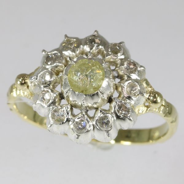 19th century Dutch reproduction ring in gold and silver set diamonds - 1960