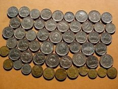 Argentina – Republic of Argentina, collection of 55 coins from mid 20th century. Different values: 20, 10 and 5 centavos; 1, 5, 10 and 25 pesos. 1944–1968. (55)