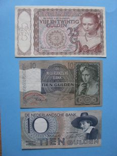 Netherlands - 25 guilders 1943 little princess, 10 guilders 1940 girl with grapes and 10 guilders 1943 Staalmeester