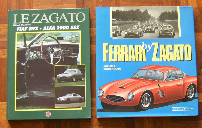 Lot of 2 Books; LE ZAGATO Fiat 8VZ - Alfa Romeo 1900 SSZ  /  Ferrari by Zagato