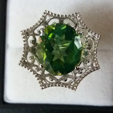 Huge, Bold and Genuine 7.18cts Brazilian Fern/Apple Green Quartz with Brazilian White Topaz coctail ring. Eye catching
