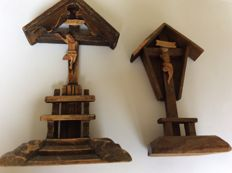Antique hand-carved wooden crucifixes, early 20th century