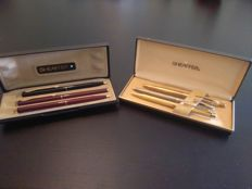 Set  of 6 Sheaffer pens gold 14k,sterling silver and regular