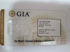 0.56ct Marquise Brilliant D VS2 GIA  - Low Reserve Price - # 2023