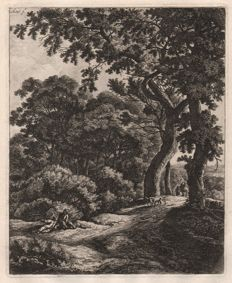 Anthonie Waterloo (1610-1690) - Large upright landscape: Two travellers resting in the woods  -  Around 1650