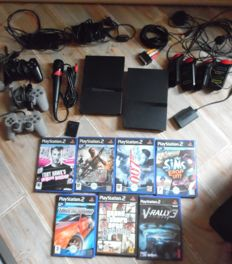 2 PlayStation 2 consoles including  3 controllers , 7 games and more