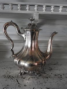 Silver plated baroque coffee can.