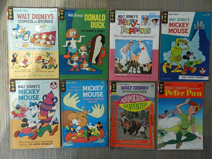 Gold Key Classic Disney Comics Set with WD Comics's and Stories, Donald Duck, Mickey Mouse, Uncle Scrooge, Mary Poppins and Peter Pan amongst others - 12 sc (1960/1965)