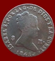 Spain - Isabel II, 8 Maravedis from Segovia 1843 - 28mm/10.2g.