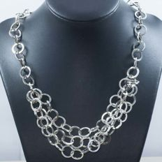 925 silver necklace in Italian design composed of round links – 50 cm.