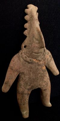 Pre-Columbian Colima solid flat figure of a man with a decorated headdress - Mexico - 20 cm    *** NO RESERVE PRICE ***