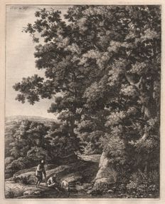 Anthonie Waterloo (1610-1690) - Large upright landscape: A dog drinking from a stream -  Around 1650