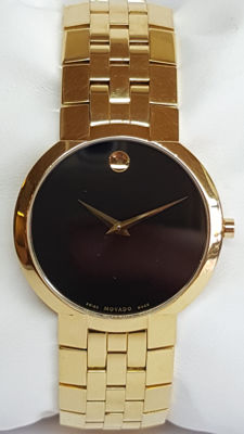 Authentic Men's Movado Gold Plated Stainless Steel Black Face Museum Watch