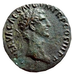 Roman Empire -  Nerva (96 - 98 A.D.) bronze as (8,82 g., 27 mm.) minted in Rome in 97 A.D. FORTVNA AVGVST. S. C.