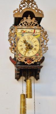 Bracket clock of Dutch make, entirely hand-painted, 1950s/1960s period