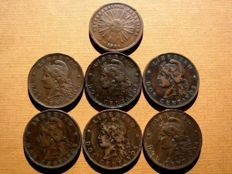 Argentina – Republic of Argentina, collection of seven copper coins from the second half of the 19th century. All coins are two centavos. 1854–1894. (7)