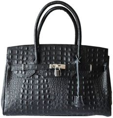 Vera Pelle leather black croc shoulder bag