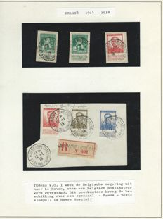 German Empire 1914/1918 - Occupation of Belgium (Landespost on album sheets) stamps and mail.