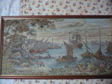 20th century beautiful Gobelin tapestry - sea scenery