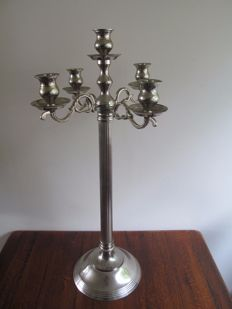 Large chrome 5-light candelabra 75 cm
