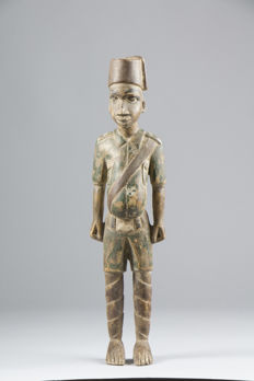 """Military colon figurine - """"African picture"""" - BAULE  Ivory Coast"""