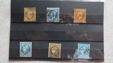 France 1853/1870 – Napoleon III and Bordeaux issue – Yvert no. 13A, 14A, 16, 45A, 45B, 47