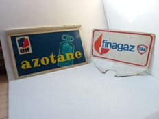 Vintage double-sided advertisment for Finagaz elf Azotane - 1968.