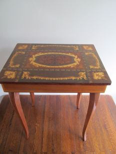 Reuge music table - table with Swiss music box - Italy - Mid-20th century