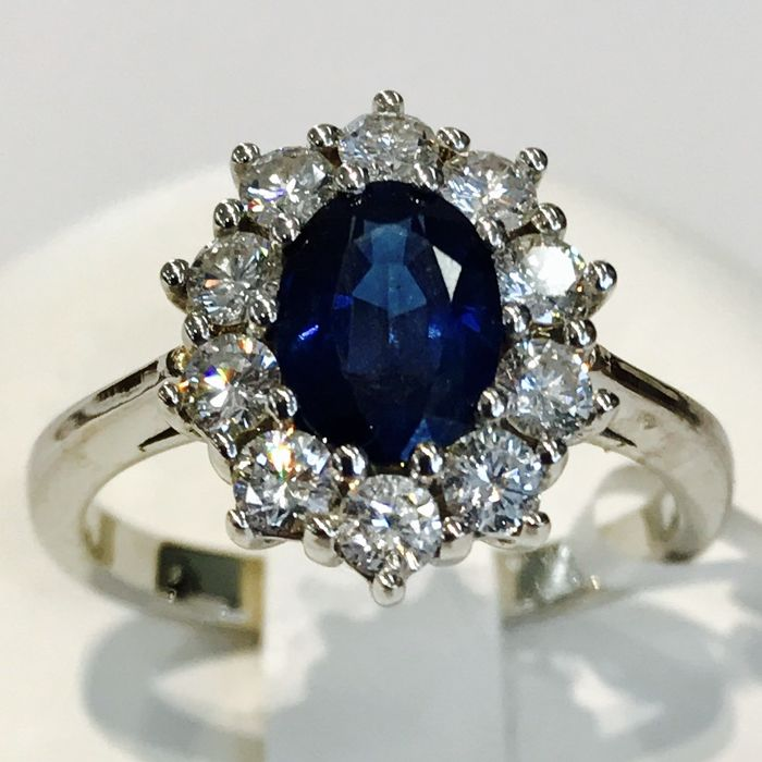 Sapphire and diamond ring, Lady Diana, Kate, 2.68 ct in total