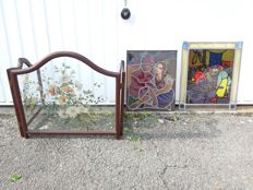 A painted glass triptych depicting a flower and two stained glass windows with a tavern scene and a romantic couple (3)