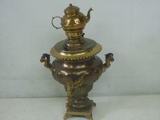 Large yellow with red copper Samovar with tea kettle, Holland, 19th century.