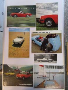 Triumph - lot of 7 brochures Spitfire / 1500 / MKII / 4 / Mk3 - from 1962 to 1978