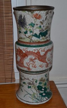 Gu type vase with five colors - China - late 19th century