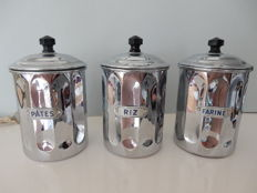 Beautiful old batch of 3 spice jars, very polished chromed metal - France
