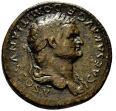 Roman Empire - Domitian caesar (69-81 A.D.), bronze sestertius (25,17 g. 32 mm.), Rome mint, 78 A.D. PAX AVGVST. Very scarce!